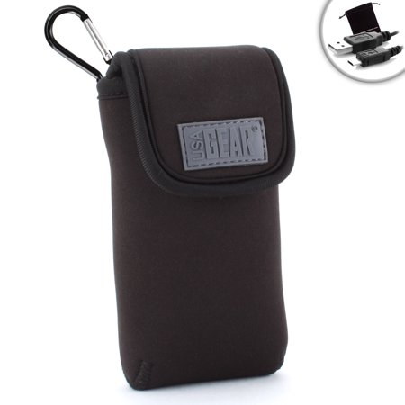 Travel Pocket Wi-Fi Hotspot Case Pouch with Carabiner Clip, Velcro Enclosure & Belt Loop by USA GEAR - Works with Novatel Mifi 4510L , Huawei E5220 , Glocalme® G1S and