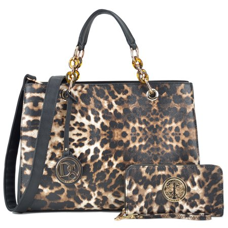 Leopard Handbag Purse (Dasein  Faux Saffiano Leather Chain Strap Leopard Satchel Handbag with Matching Wallet )