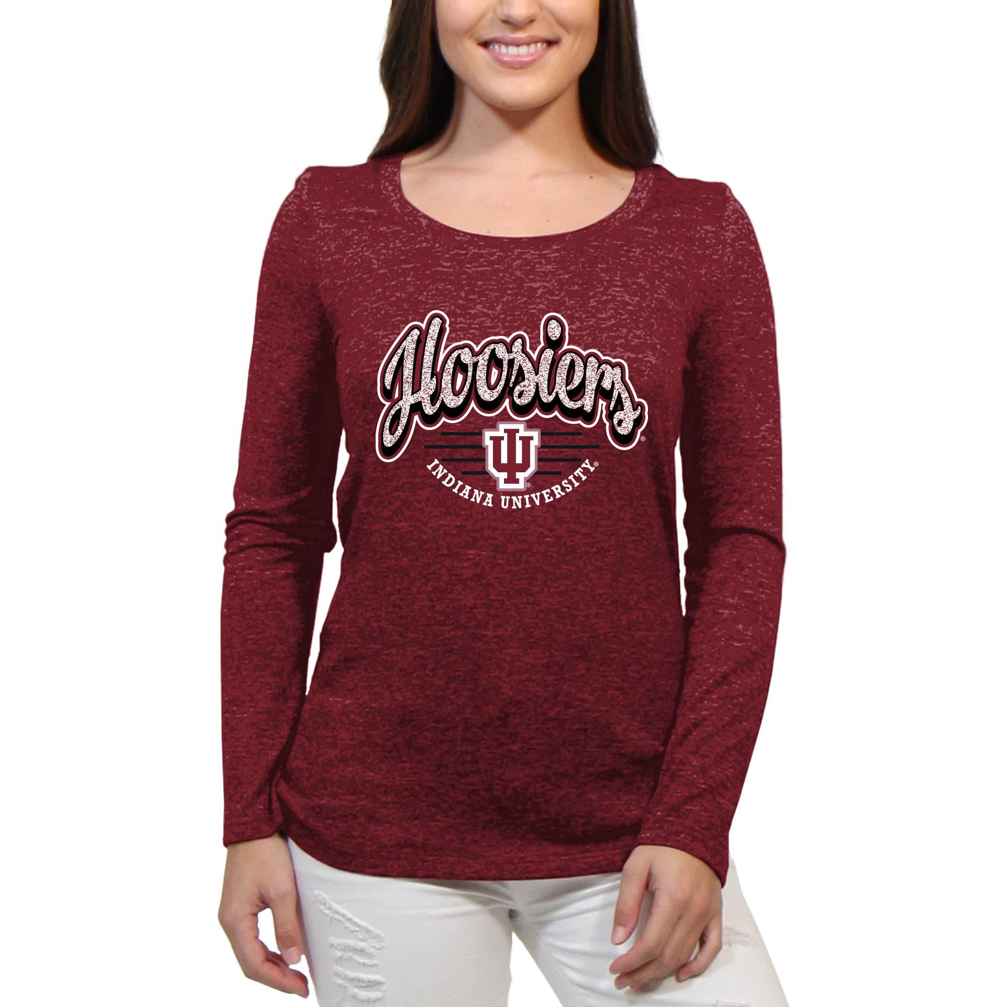 Indiana Hoosiers Funky Script Women'S/Juniors Team Long Sleeve Scoop Neck Shirt
