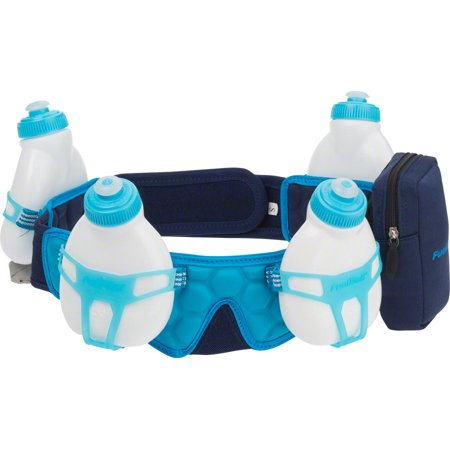 FuelBelt Helium 4-Bottle Custom Fitted Hydration Belt: Deep Sea Blue/Honolulu Blue LG - Helium Bottle