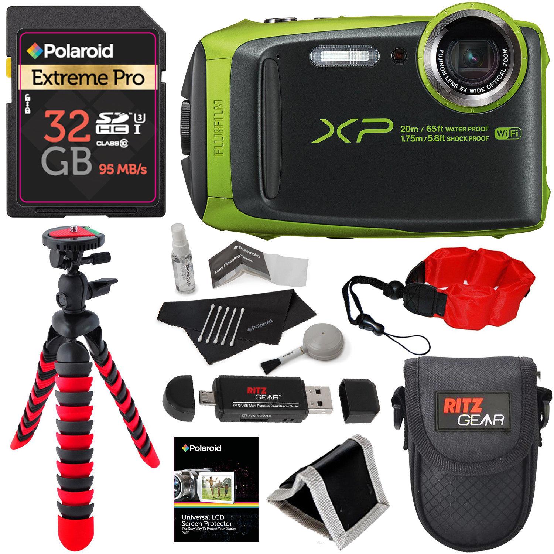 Fujifilm FinePix XP120 Waterproof Digital Camera - Lime and Accessory Bundle