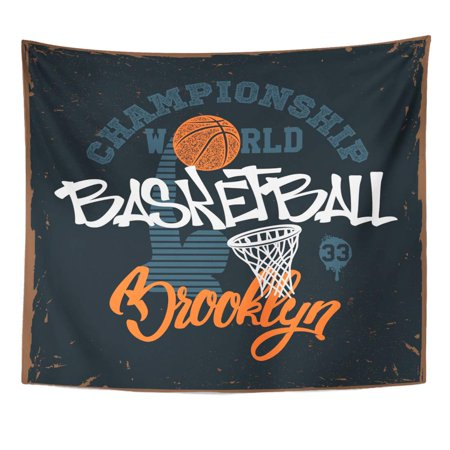 ZEALGNED Vintage Boy Basketball for Apprel Tee Brooklyn College NYC America Wall Art Hanging Tapestry Home Decor for Living Room Bedroom Dorm 51x60 (Best College Dorm Rooms In America)
