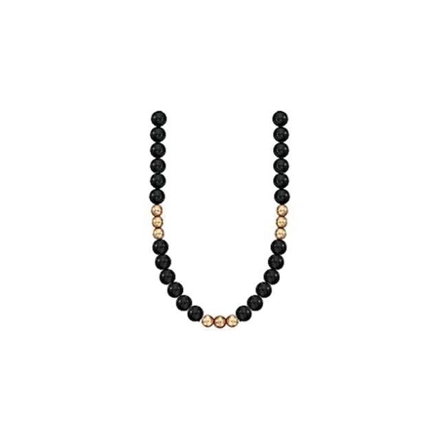FineJewelryVault UBNKBK7130Y14BOX 9 MM Round Black Onyx w...