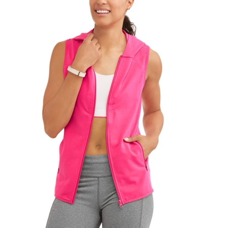 Athletic Works Womens Active French Terry Full Zip Vest With Hoodie