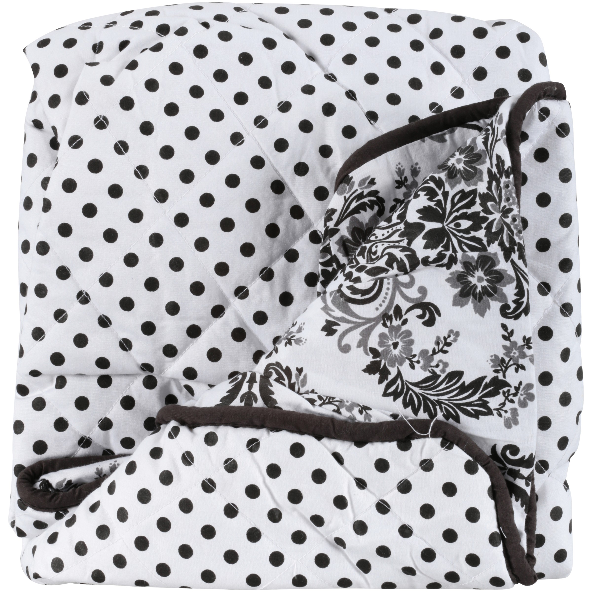 Bacati Classic Damask White/Black Pin Dots Changing Pad Cover