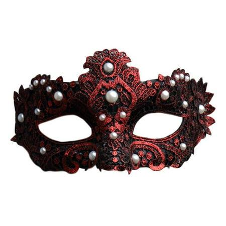 Brocade Pearl - Dark Red Pearl Macrame Brocade Lace Masquerade Mardi Gras Mask
