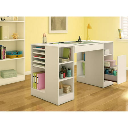 - South Shore Crea Craft Table and 4-shelf Bookcase, Multiple Finishes
