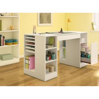 South Shore Crea Craft Table and 4-shelf Bookcase, Multiple Finishes