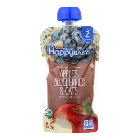 (Happy Baby® Organics Apples, Blueberries & Oats Baby Food 4 oz. Pouch)