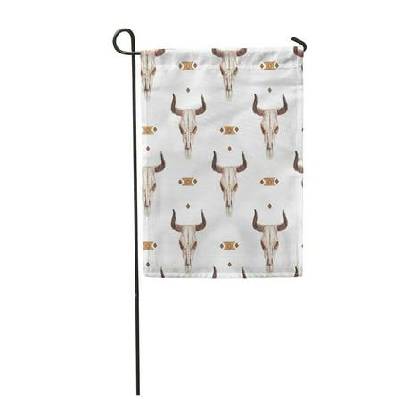 POGLIP Watercolor Ethnic Boho of Bull Cow Skull Horns Tribe Garden Flag Decorative Flag House Banner 12x18 inch - image 1 of 1