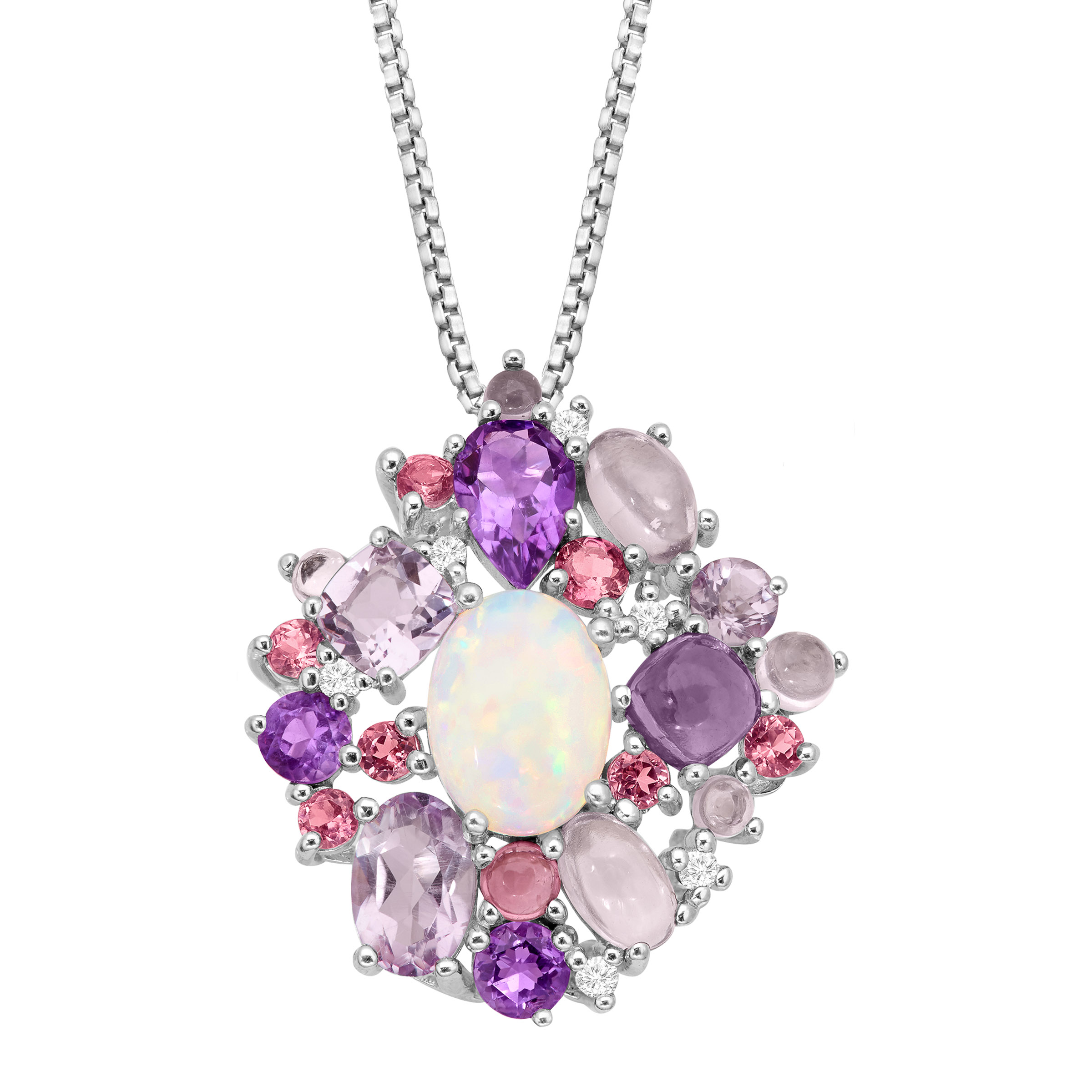 3 1 2 ct Natural Opal, Amethyst & Tourmaline Pendant Necklace with Diamonds in Sterling Silver by Richline Group