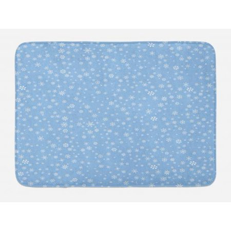 - Winter Bath Mat, Cute Little Snowflakes Falling from the Sky December New Year`s Eve Blizzard Icons, Non-Slip Plush Mat Bathroom Kitchen Laundry Room Decor, 29.5 X 17.5 Inches, Blue White, Ambesonne