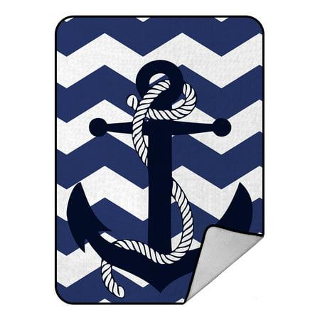 Navy Country Lambswool - GCKG Chevron Blanket,Amazing Chevron Anchor With Navy Blue Chevron Fleece Blanket Crystal Velvet Front and Lambswool Sherpa Fleece Back Throw Blanket 58x80inches