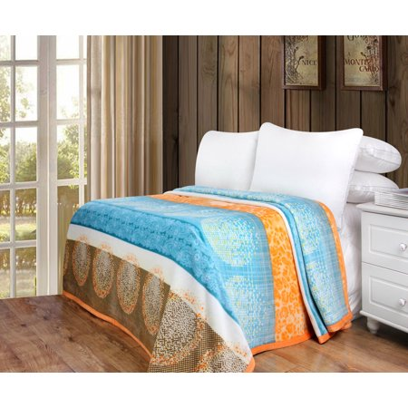 "DaDa Bedding Papaya Beach Reversible Soft Warm Cozy Plush Luxe Fleece Flannel Throw Blanket - Bright Vibrant Geometric Striped Paisley Floral Multi Colorful Orange & Blue Print - 66"" x 90"""