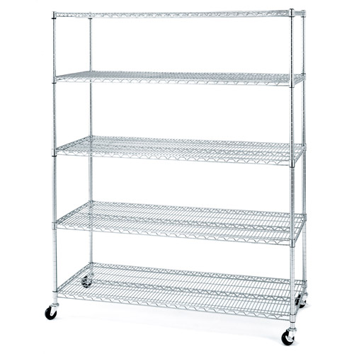 Seville Classics 5-Shelf Steel Wire Shelving System with Casters/Wheels