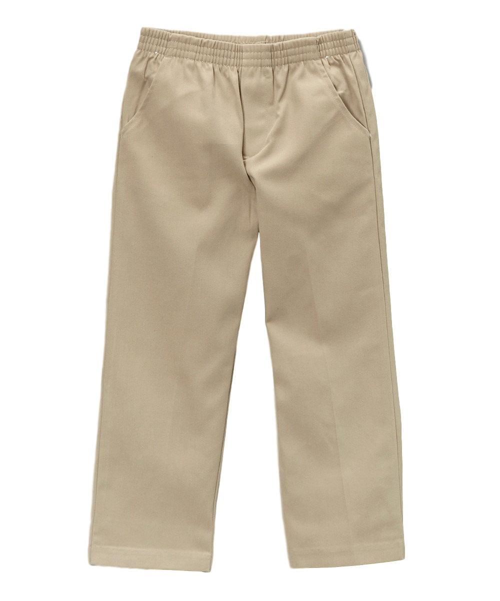 Unik Boys Khaki Regular Pull On Uniform Pants