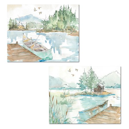 - Beautiful Watercolor-Style Lake, Cabin and Canoe Set by Anne Tavoletti; Lodge Decor; Two 14x11in Paper Posters