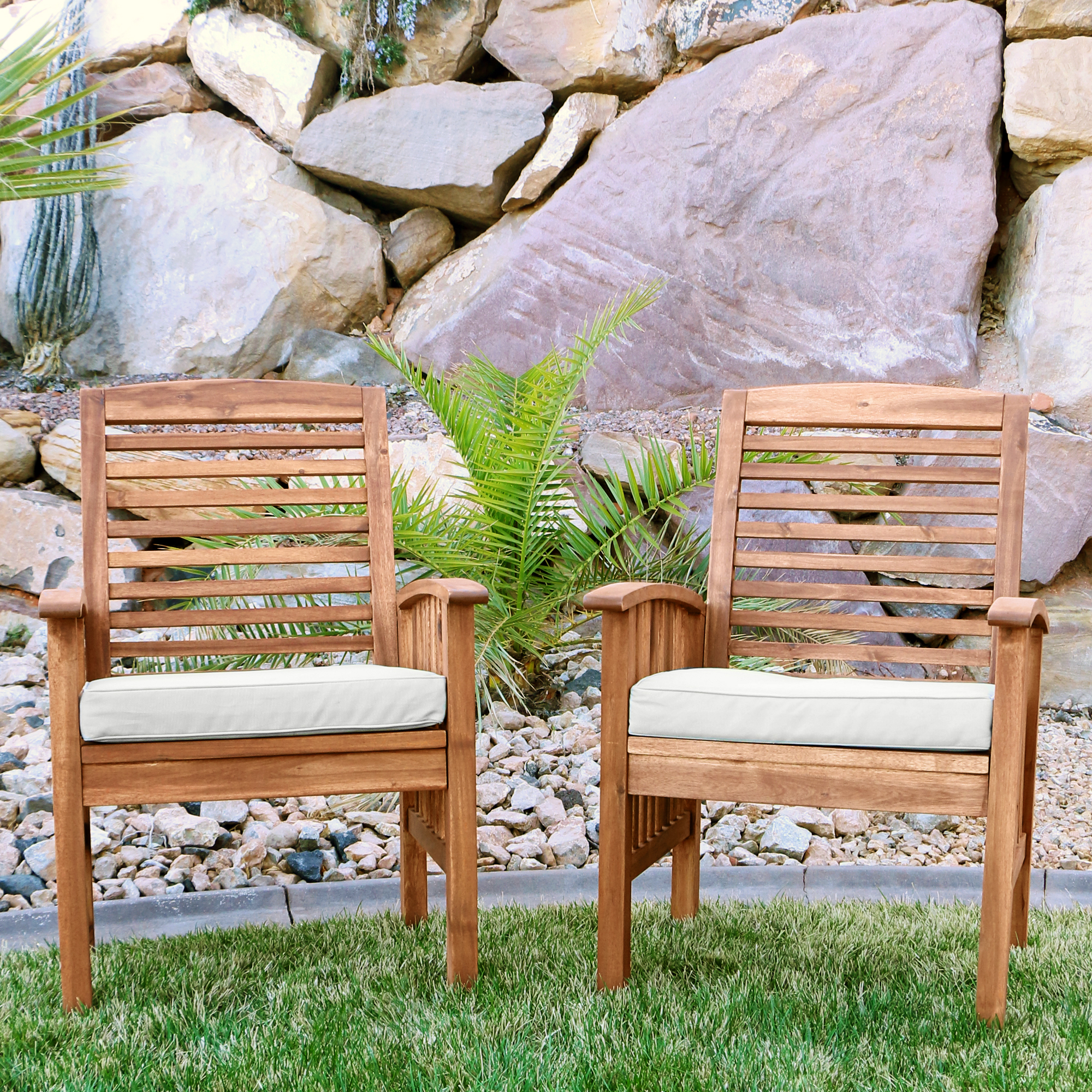 Merveilleux Acacia Wood Patio Chairs With Cushions, Set Of 2