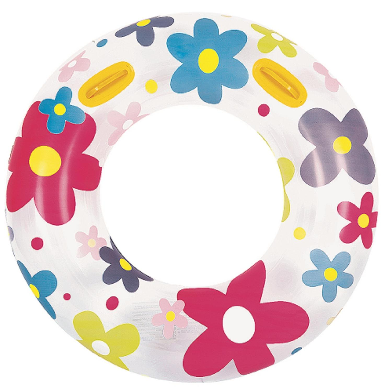 Fashion Flower Print Inflatable Swimming Pool Inner Tube Ring Float with Handles, 42-Inch