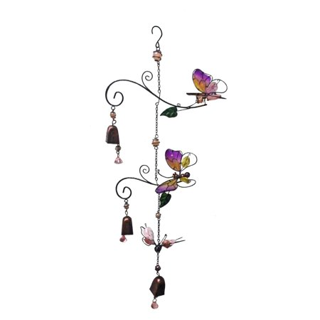 Continental Art Center Three Butterflies Wind Chime
