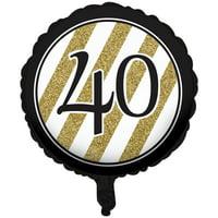 Black & Gold Metallic 40th Birthday Balloon