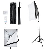 HERCHR Studio Softbox, 50*70cm Softbox 2m Light Stand Photography Lamp Bulb Kit US Plug 110V, Photography Softbox, Photography Lamp