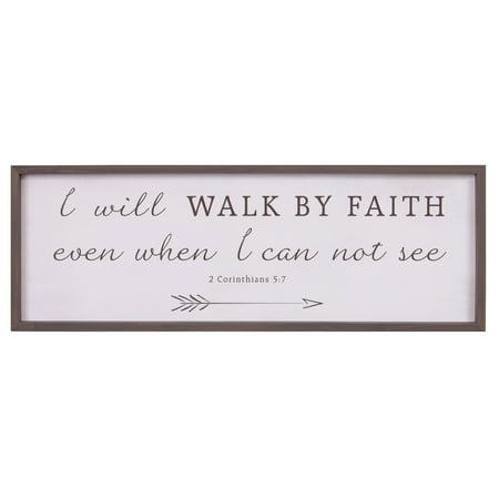 Fitch Woods (Patton Wall Decor Walk By Faith Bible Verse Rustic Wood Framed Wall Art Décor, 12x36)