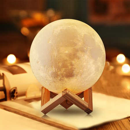 Large ! Real Moon Lamp Lighting Night LED 3D globe Printing Warm Cool White Dimmable Touch Control Brightness USB Charging Rechargeable Home Decorative for Baby kids gift wooden stand 15cm 5.9Inch
