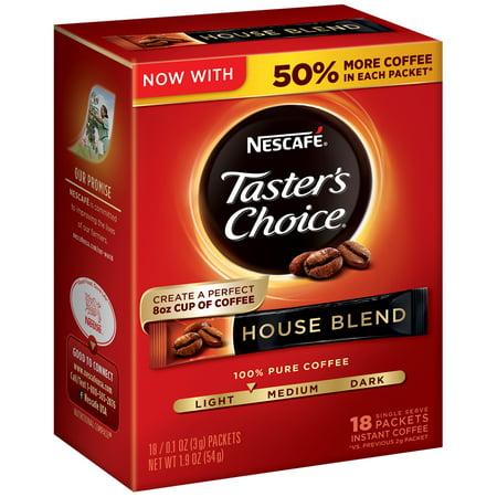 NESCAFE TASTER'S CHOICE House Blend Medium Light Roast Instant Coffee 18-0.1 oz.