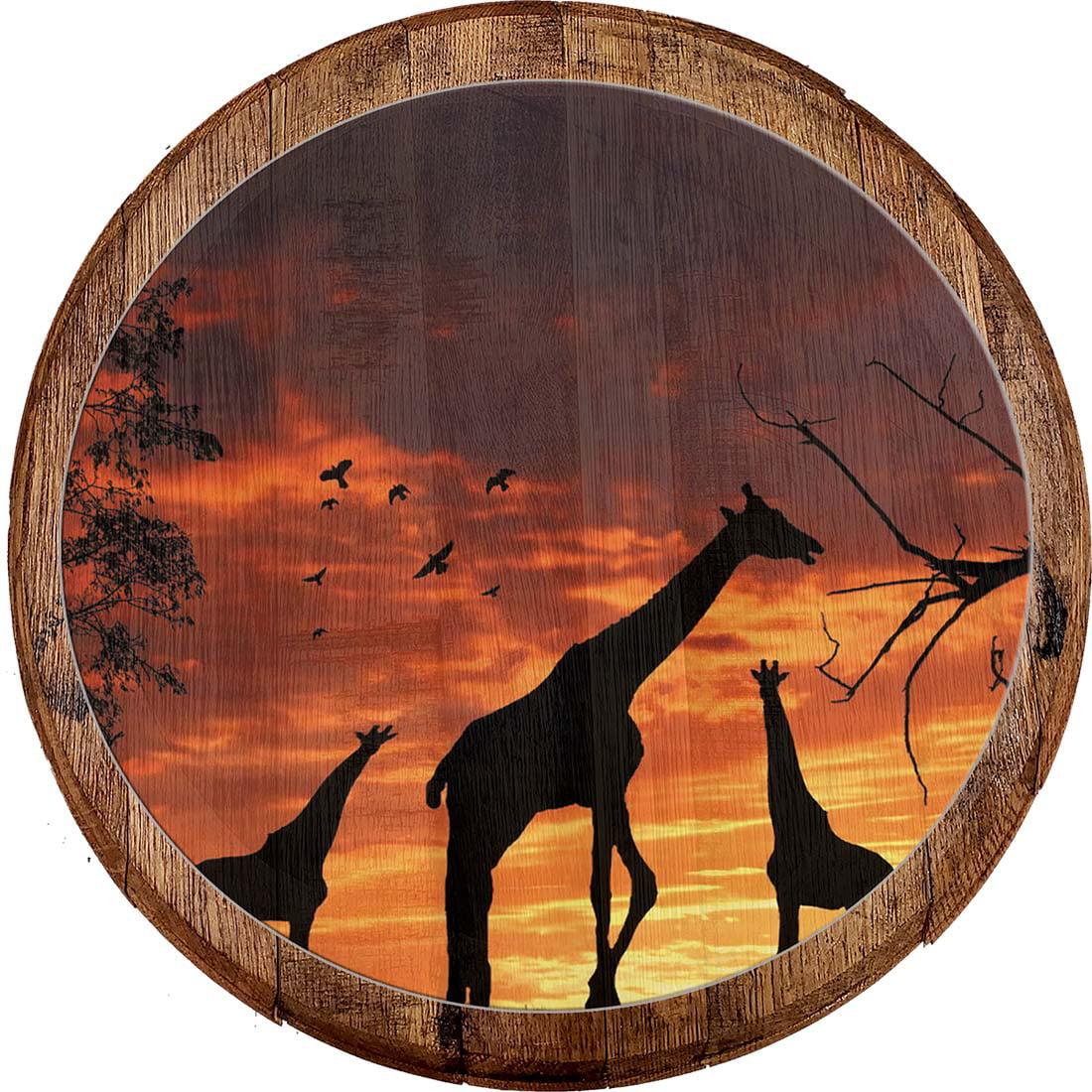 Bar Sign Silhouette Giraffe Sunset Sunrise African Safari Sahara Bar Wall Decor Wall Art Walmart Com Walmart Com