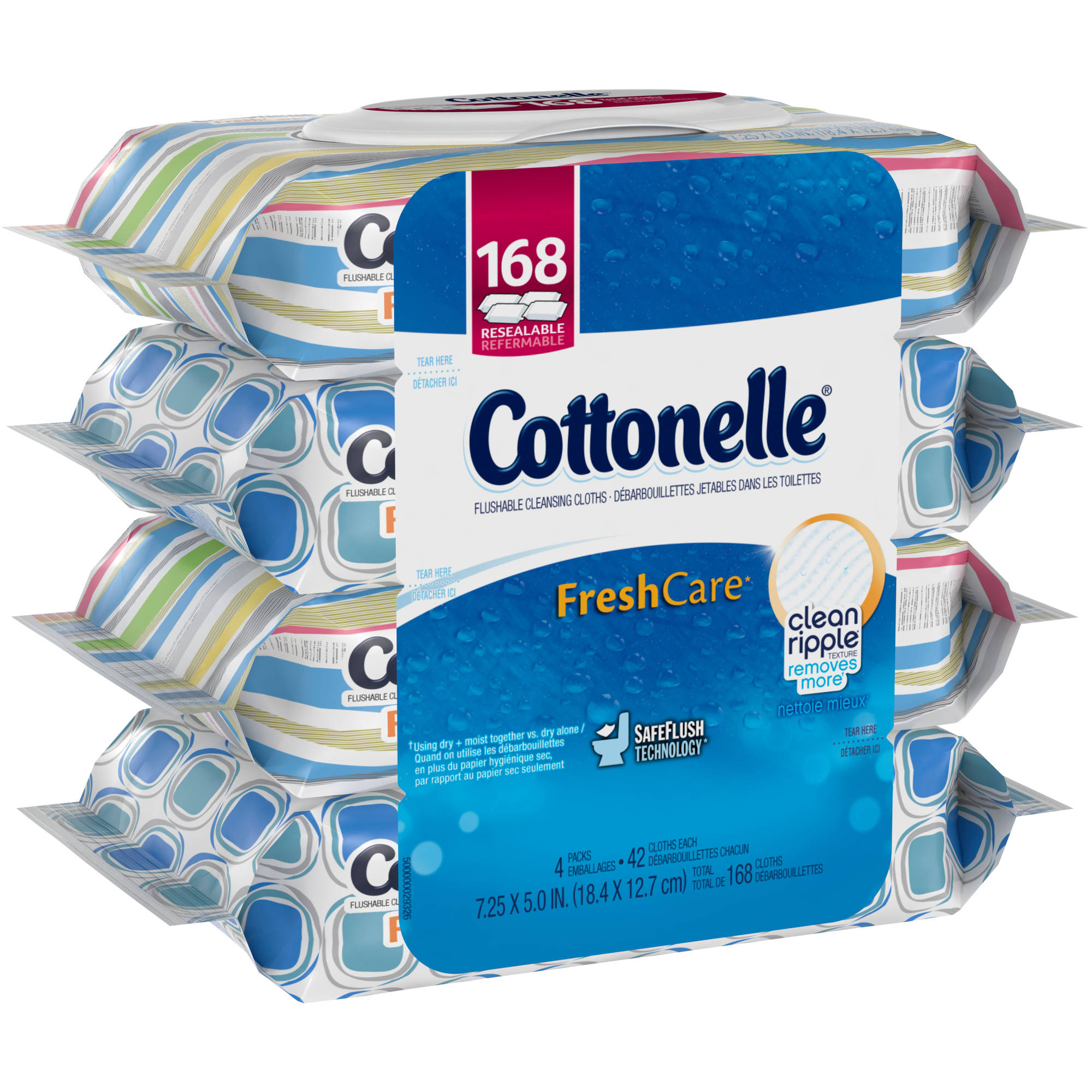 Cottonelle FreshCare Flushable Cleansing Cloths, 42 sheets, (Pack of 4)