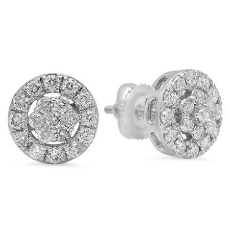 18k Brilliant Cut Stud - 0.90 Carat (ctw) 18K Gold Round Cut White Diamond Ladies Cluster Style Stud Earrings