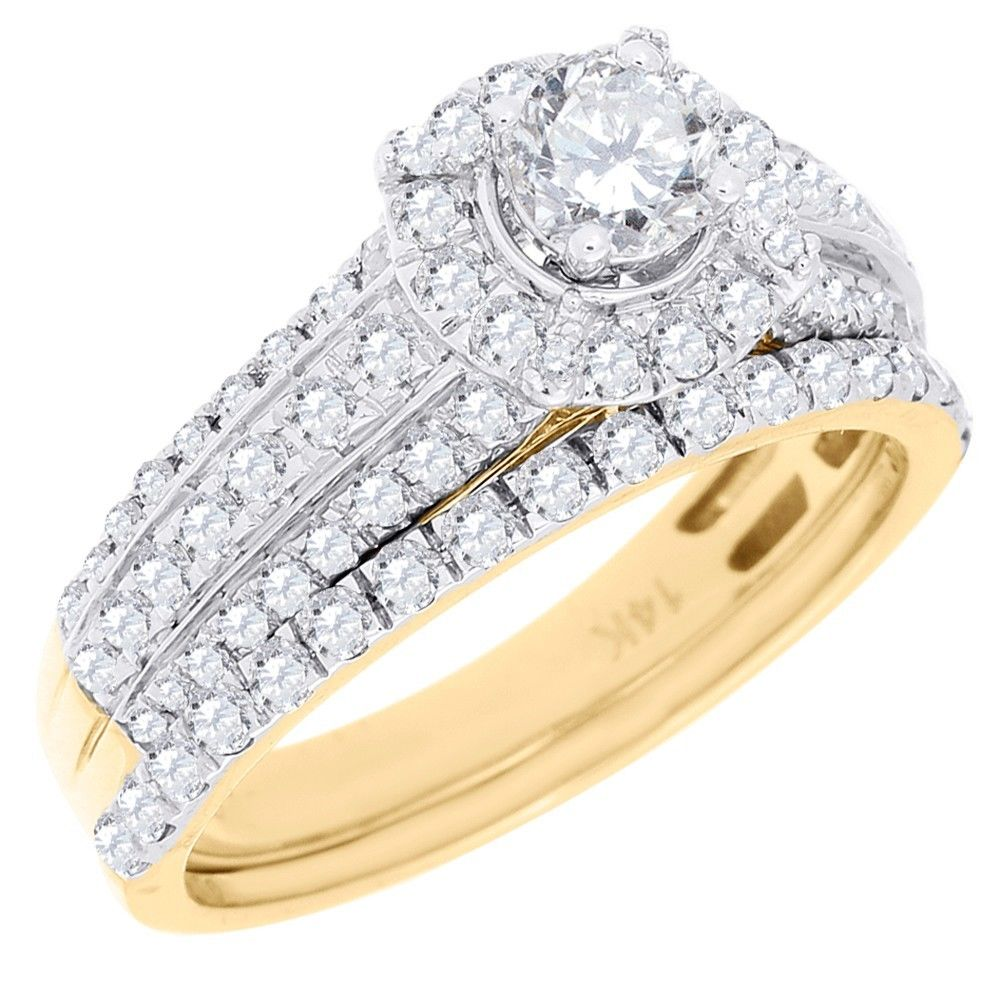 Solitaire Diamond Bridal Set Round Cut Engagement Ring 14K Yellow Gold 0.97 Ct. by Jewelry For Less