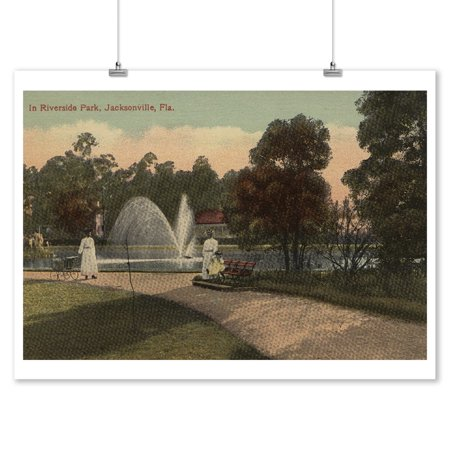 Jacksonville, FL - View of Riverside Park & Fountain (9x12 Art Print, Wall Decor Travel Poster)](Party Shop Jacksonville Fl)