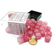 Chessex Ghostly Glow 12mm D6 Dice Block (36 Dice) -Pink with Silver Numbers #27924