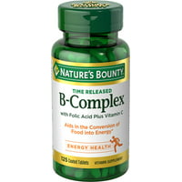 Nature's Bounty Vitamin B Complex with Folic Acid Plus Vit C, 125 Time Release Tablets