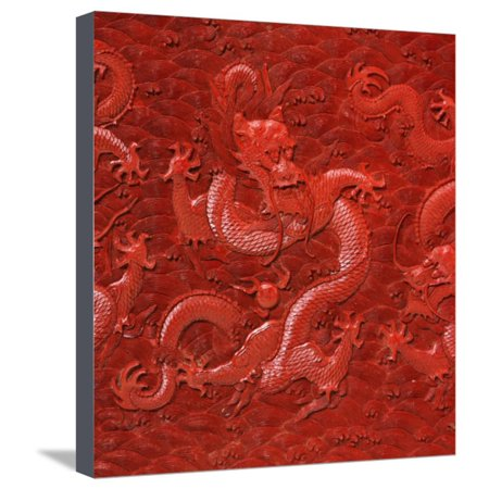 A Very Rare Imperial Cinnabar Lacquer Nine-Dragon Portable Tea-Ceremony Chest (Detail) Stretched Canvas Print Wall Art