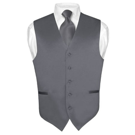 Men's Dress Vest & NeckTie Solid CHARCOAL GREY Color Neck Tie Set for Suit Tux ()