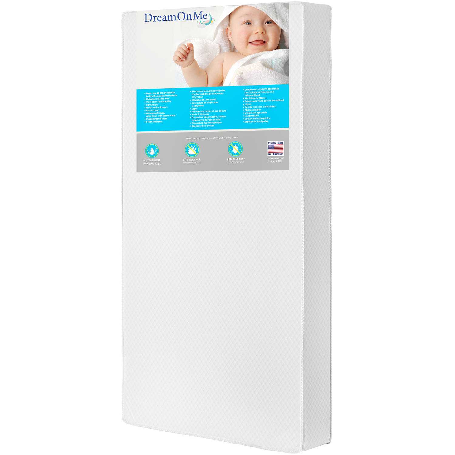 """Dream On Me Lavender 6"""" 2-in-1 Foam Core Crib and Toddler Bed Mattress"""