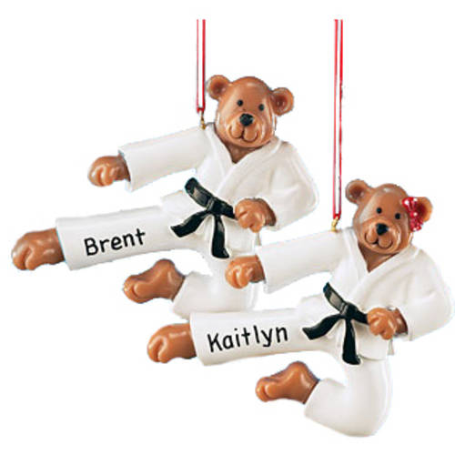 Personalized Karate Bear Ornament, Boy