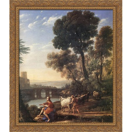 Landscape With Apollo Guarding The Herds Of Admetus 28X34 Large Gold Ornate Wood Framed Canvas Art By Claude Lorrain