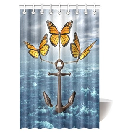 POP Anchor Decor Collection, Three Monarch Butterflies Raising a Heavy Anchor From a Stormy Ocean Bathroom Shower Curtain 48x72 inch - image 2 of 2