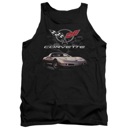 Chevrolet Automobiles Chevy Corvette Checkered Background Adult Tank Top Shirt
