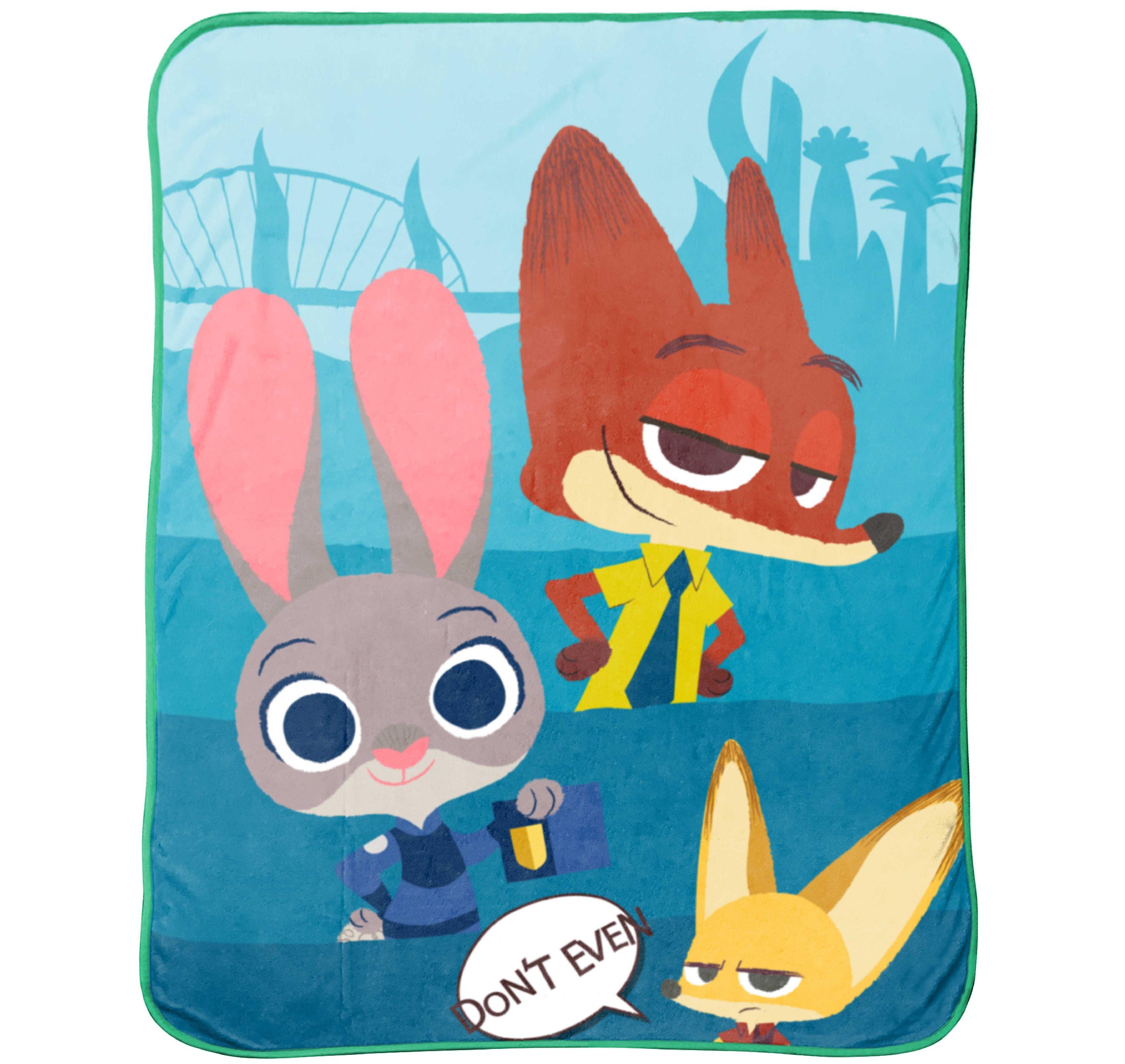 """Disney Zootopia Bunny Ears Plush 50"""" x 60"""" Throw"""