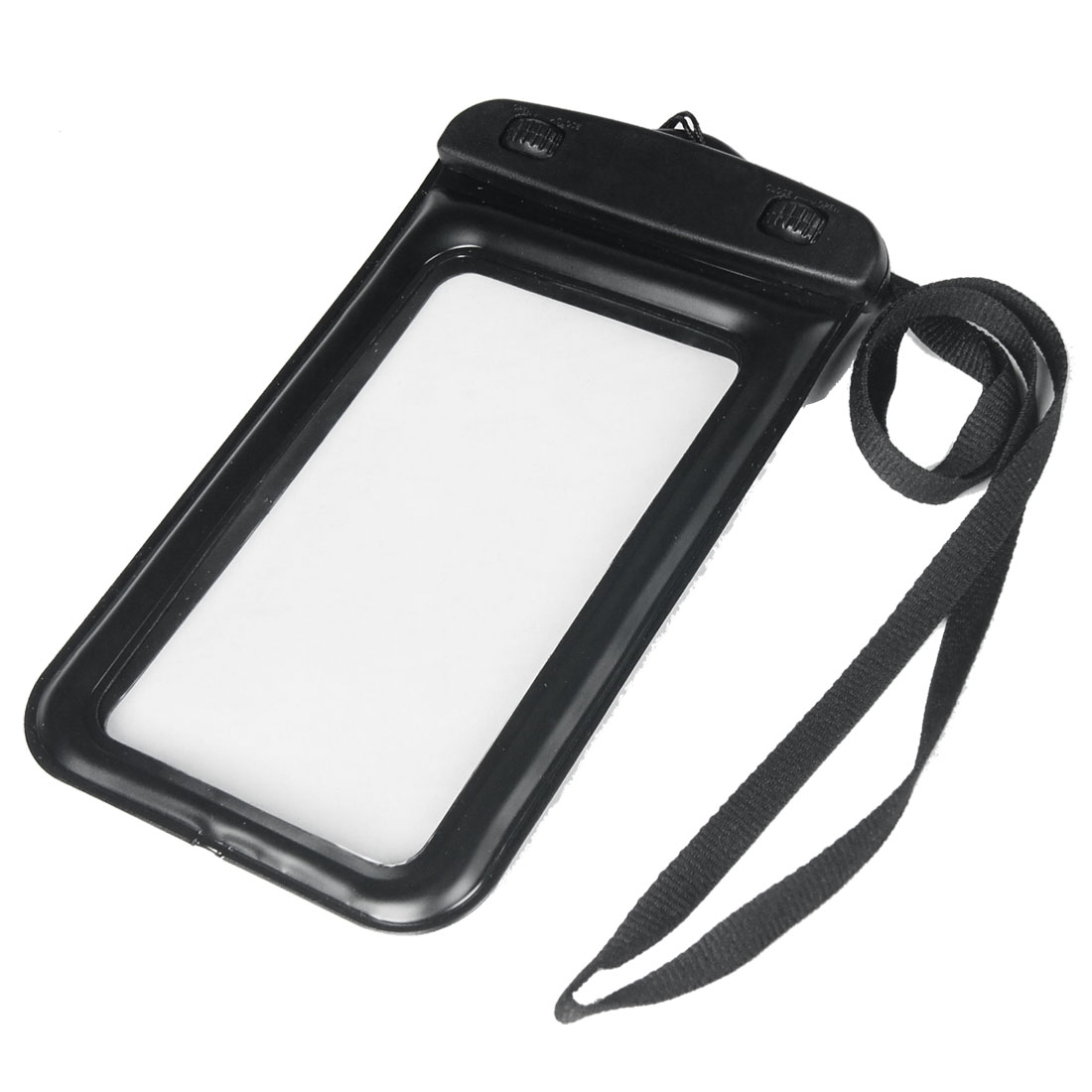 Black Plastic Double Turn Lock Water Resistant Case Cover w Neck Strap