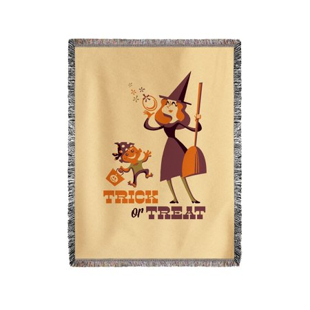 Trick or Treat - Mom & Son - Retro Halloween - Lantern Press Artwork (60x80 Woven Chenille Yarn Blanket)