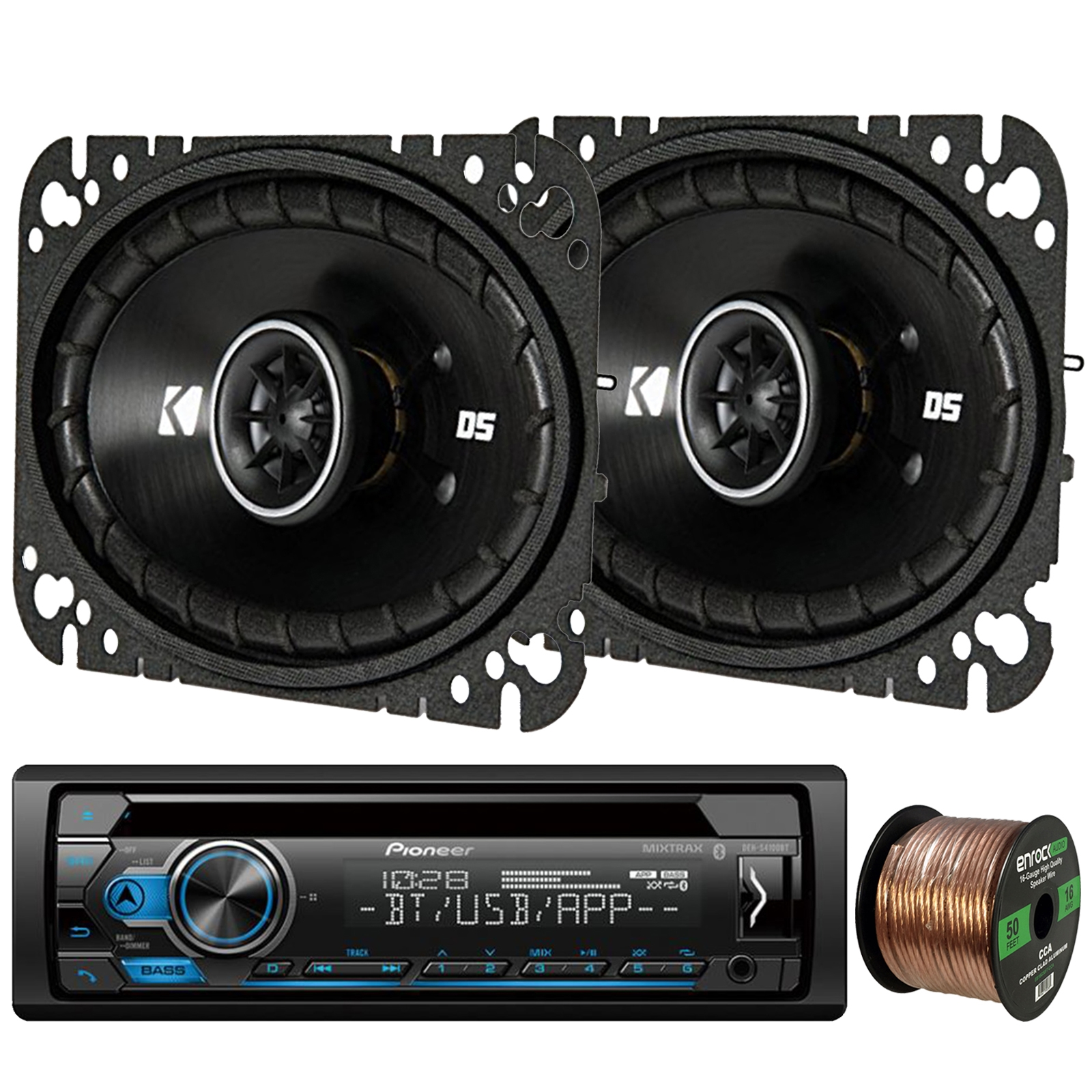 "Pioneer DEH-S4100BT In-Dash Single-DIN CD Player Bluetooth Receiver, 2 x Kicker 43DSC4604 DS-Series 4x6"" 240-Watt 4-Ohm 2-Way Car Coaxial Speakers, 16-Gauge 50Ft. Speaker Wire"