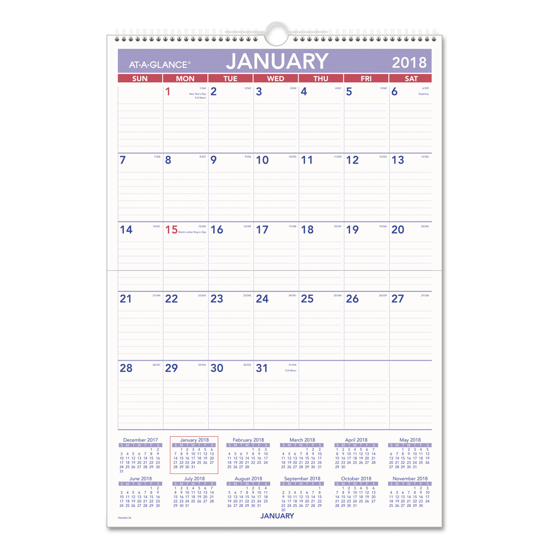 AT-A-GLANCE Erasable Wall Calendar, 15 1 2 x 22 3 4, White, 2018 by AT-A-GLANCE
