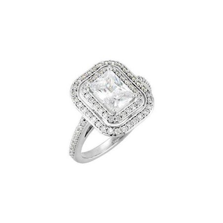 Harry Chad Enterprises HC11269-6 2.21 CT Emerald & Round Diamonds Engagement Ring - 14K White Gold - Size 6 - image 1 of 1