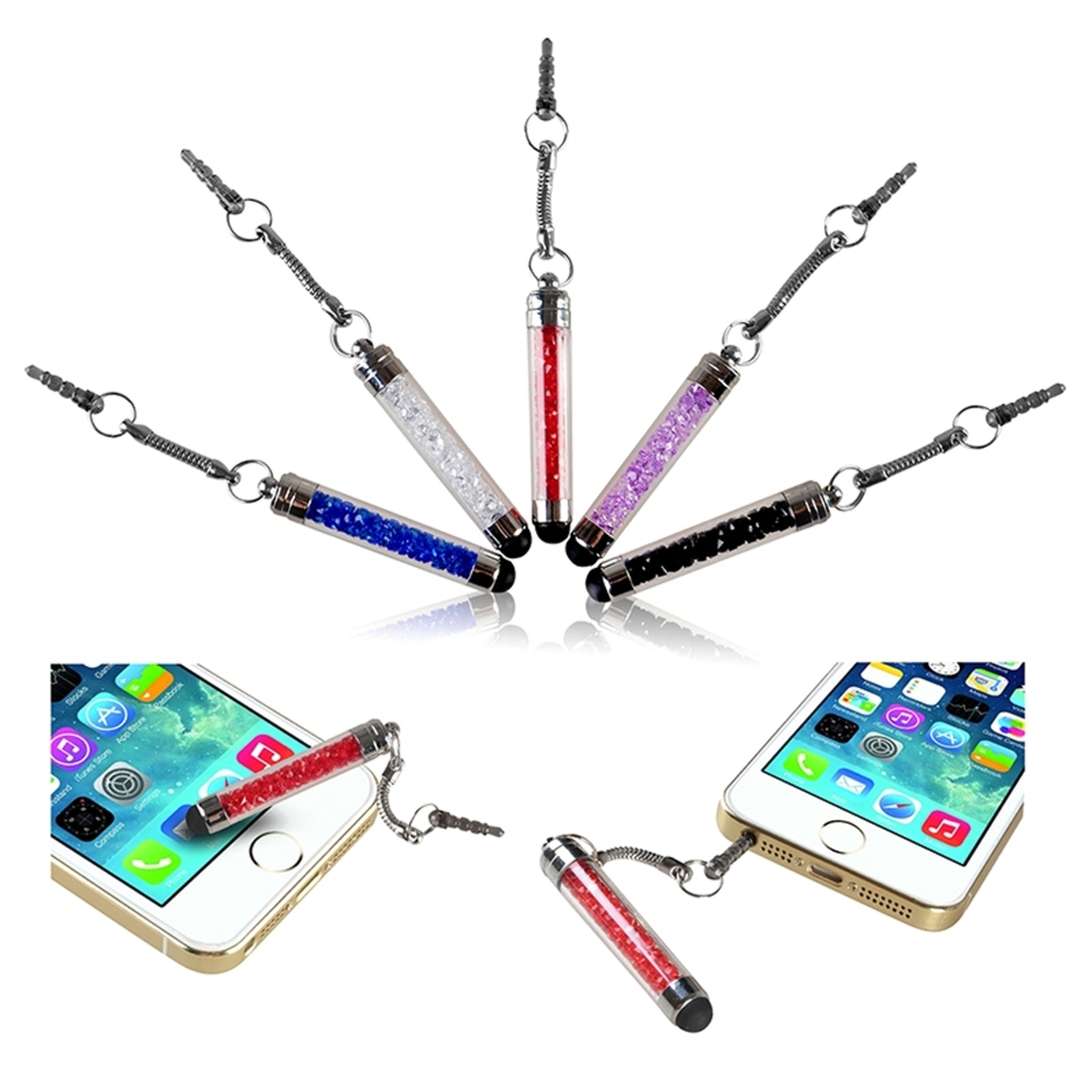 Insten 5-color Pack Universal Bing Crystal Mini Short Stylus Pen with 3.5mm Dust Plug Cap For iPhone 6 6S Plus SE 5S iPad Mini Air Pro / Samsung Galaxy S7 S6 Edge S5 Note 5 Grand Core Prime Tablet Tab